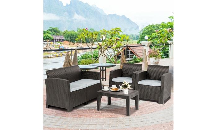 Costway 4 Piece Patio Furniture Set Molded Rattan Sectional Sofa Set Coffee