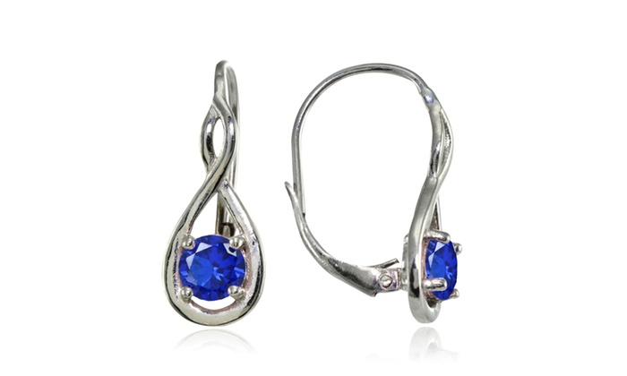 fc526cfee Sterling Silver Simulated Blue Sapphire 5mm Round Infinity Leverback  Earrings