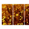 Golden City from the Sky - Contemporary Canvas Art - 48x28 - 4 Panel