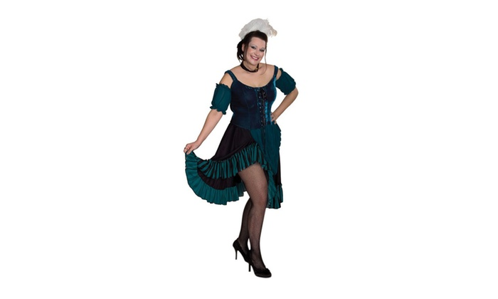 Womens Plus Size Lava Diva Saloon Girl Costume 3x Large Turquoise
