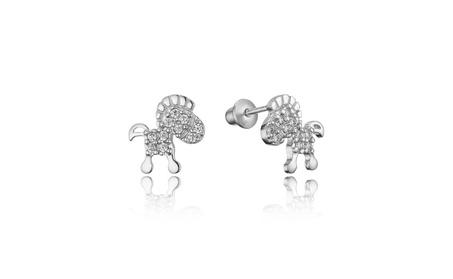 Sterling Silver Rhodium Plated Horse Children Screwback Girls Earrings