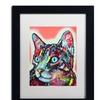 Dean Russo 'Curious Cat' Matted Black Framed Art
