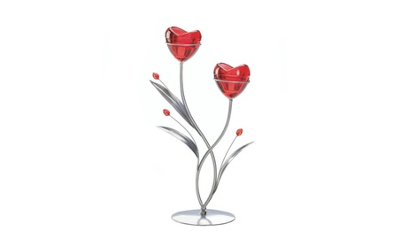 Romantic Red Glass Blooming Hearts Candle Holder a3845ab1-4373-4a01-8e61-2334377d2c3c