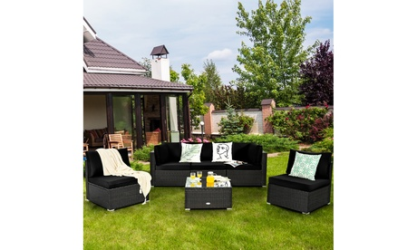 Costway 6PCS Patio Rattan Furniture Set Cushioned Sofa Coffee Table Black
