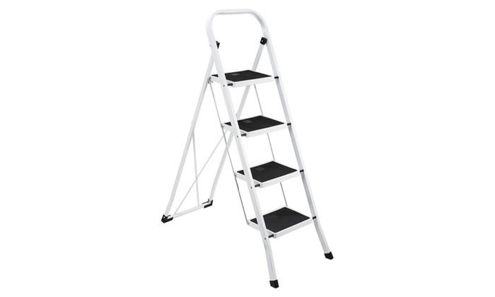 Ollieroo Ladder EN131 Steel Folding 4 Step Stool