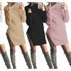 Lady Turtleneck Bodycon Dress Long Sleeve Side Split Knitted Sweater