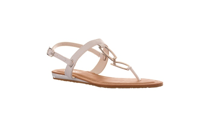 Riverberry Women's 'Saili' Metal Hardware T-strap Flat Sandal, White