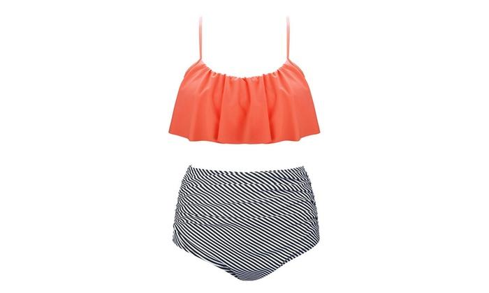 Vintage High Waist Flounce Padded Bikini Set,Falbala Flounced Bikini