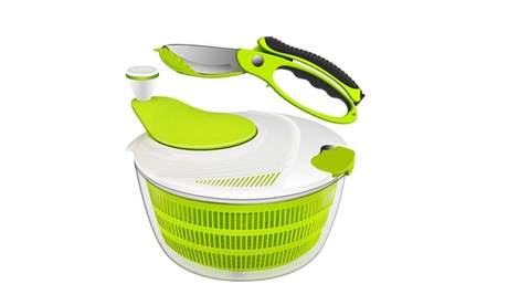 Salad Spinner Dryer Grips Salad Spinner with Vegetable Scissors photo