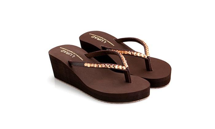 Dandelionew: Womens Rhinestone Thong Platform High Wedge Sandals Slippers Shoes