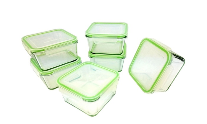Kinetic GoGreen Glassworks 35oz 12PC Square Glass Container Set