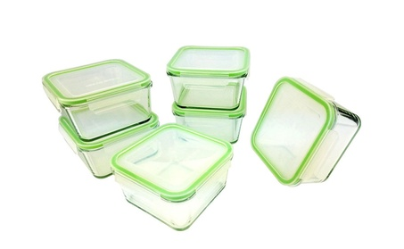Kinetic GoGreen Glassworks 35oz 12PC Square Glass Container Set 86f67383-7b7a-4c9f-87f7-9feedd6d0501