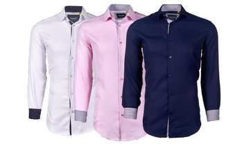 Suslo Couture Men's Small Print Doby Slim-Fit Long Sleeve Button Down Shirt