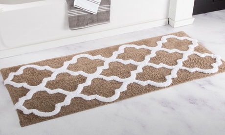 Oversized Lavish Home 100% Cotton Trellis Bathroom Mat (24
