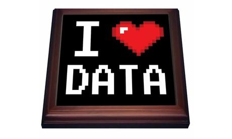 Trivet with TileGeeky Old School Pixelated Pixels 8Bit I Heart I Love Data photo