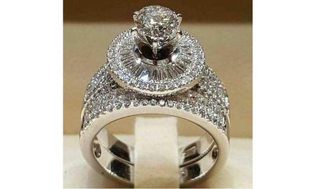 Fashion 925 Sterling Silver Round Cut White Zircon Diamond Wedding Band Ring