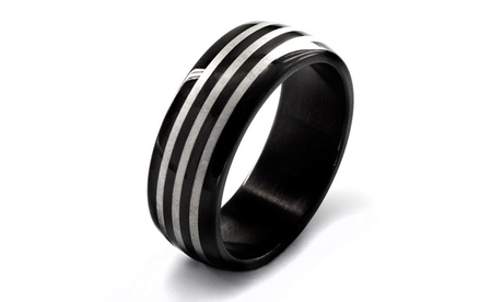 Stainless Steel Men's Black Plated Etched Triple Striped Ring 96de4353-25dc-4936-8596-9401160400e0