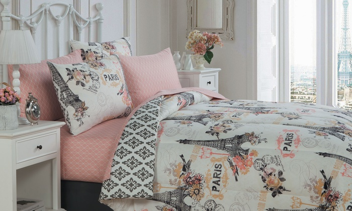 ... Paris Themed Quilt Set (5 Piece) Or Bed In A ...