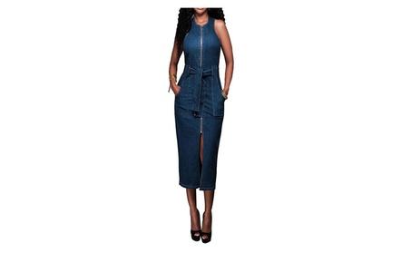 Women Elegant Sleeveless Bodycon Sexy Denim Dress For Party e5136832-bc71-4e26-b305-611f5f226285