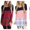 Women's Casual Plaid Long Sleeve Lace Stitching Blouse Tops