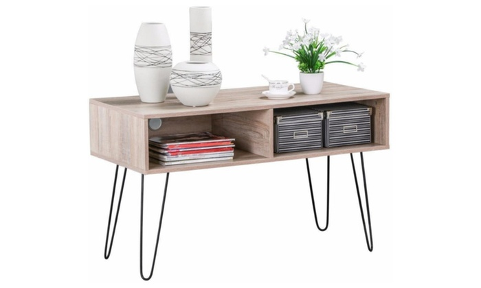 Wood TV Stand Metal Hairpin Legs Entertainment Center Console Table