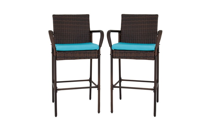 Set Of 2 Wicker Bar Stools Outdoor Patio Furniture Barstool High Chair ...