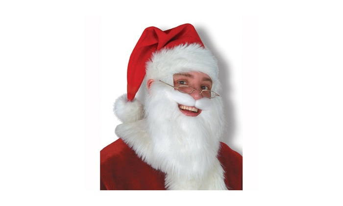 Plush Santa Hat with Beard and Moustache - 6 Pack (1/Card)