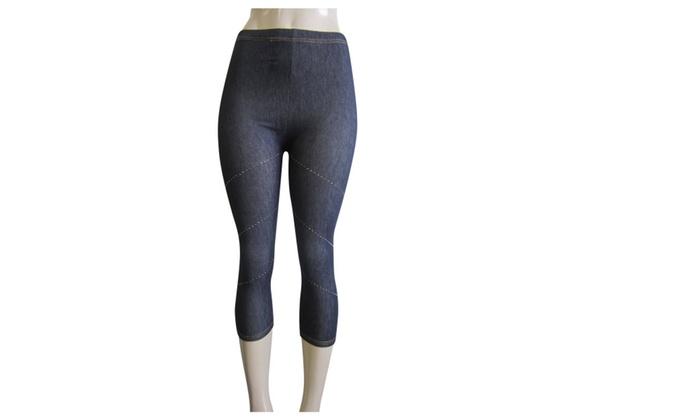 Fabric and Fabric – Denim look capri leggings for women