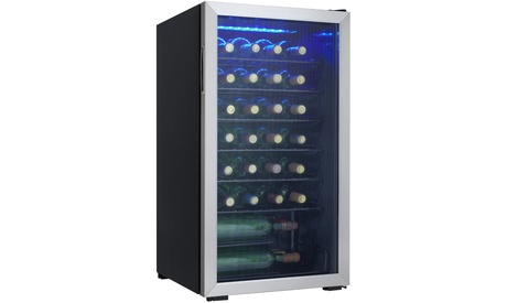 Danby 36 Bottle Freestanding Stainless Steel Wine Cooler in Black photo
