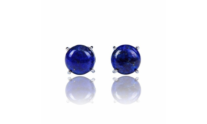 Sterling Silver 4 00ct Round Lapis Stud Earrings