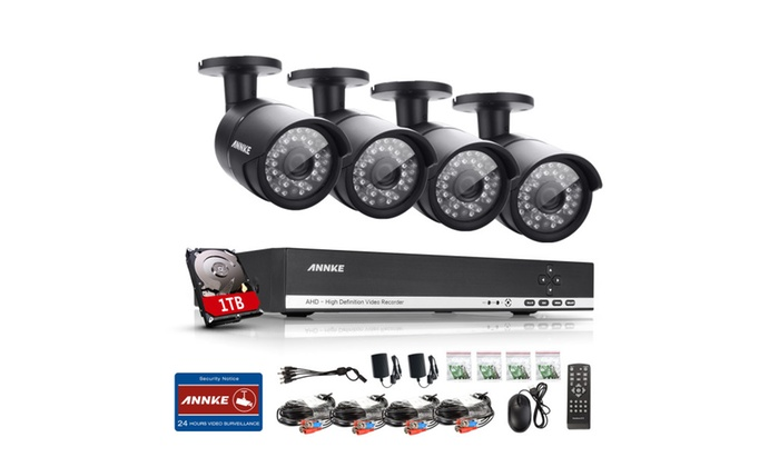 ANNKE 4-Channel Full HD Home Security System With 720P 4 Cameras