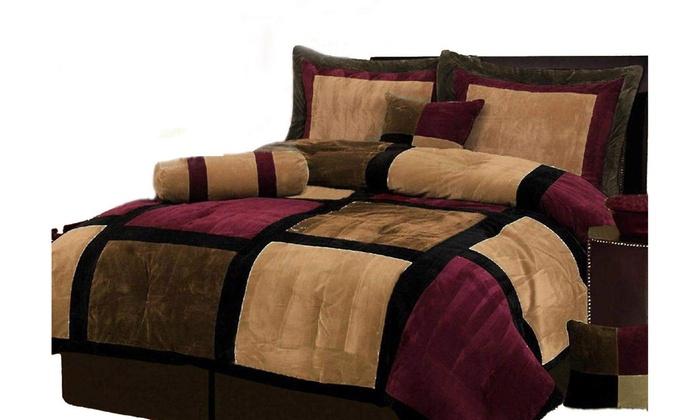 Burgundy Brown And Black Suede Patchwork Comforter Set Bed In A Bag