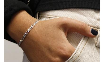 Italian Sterling Silver 7 or 8 Inch Figaro Bracelet