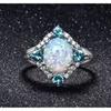 Opal and Aquamarine Opal Ring Set in 18K White Gold