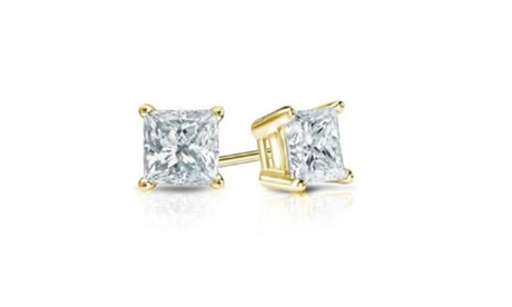 14K Yellow Gold 1/2ct. TDW Princess-cut Diamond Earrings(J-K,SI2-I1) 16537422-8300-4329-8be8-5d2220989568
