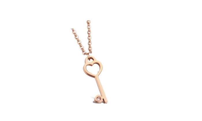 Rose gold love heart key pendants necklace groupon rose gold love heart key pendants necklace aloadofball Image collections