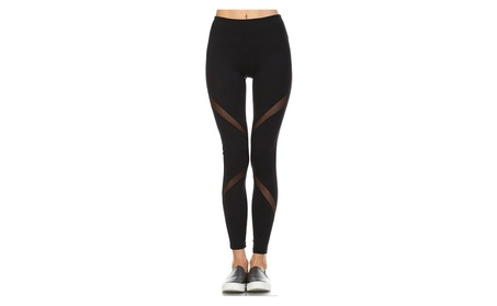 Women's Performance Activewear - Yoga Leggings with Mesh Panels f1a19983-bf92-49f7-8031-16d613d862a3