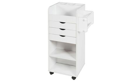 Costway Rolling Craft Storage Cart Wooden Utility Cart w/3 Drawers 3 Shelf & Slot