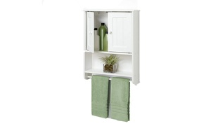 Bathroom Wood Hanging Storage Shelf 2 Doors Wall Mount Cabinet