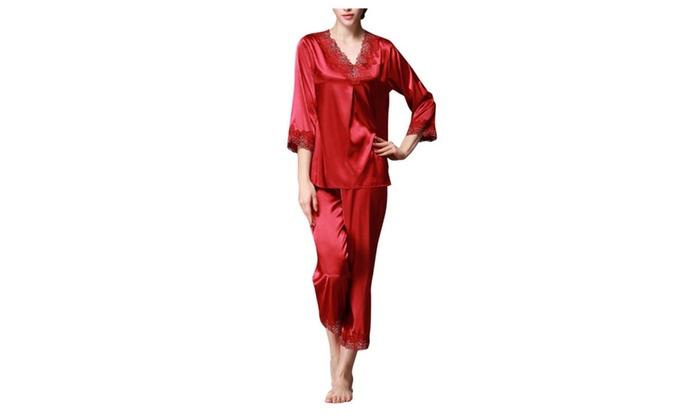 Women's Imitation Silk 3/4 Sleeves Lace V-neck Pants Pajama