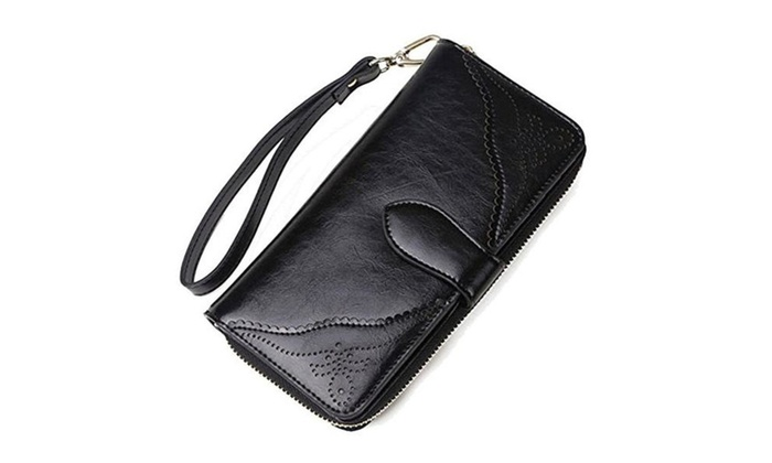 Coface Womens Trifold Genuine Cowhide Leather Handbag Wallet Wristlet