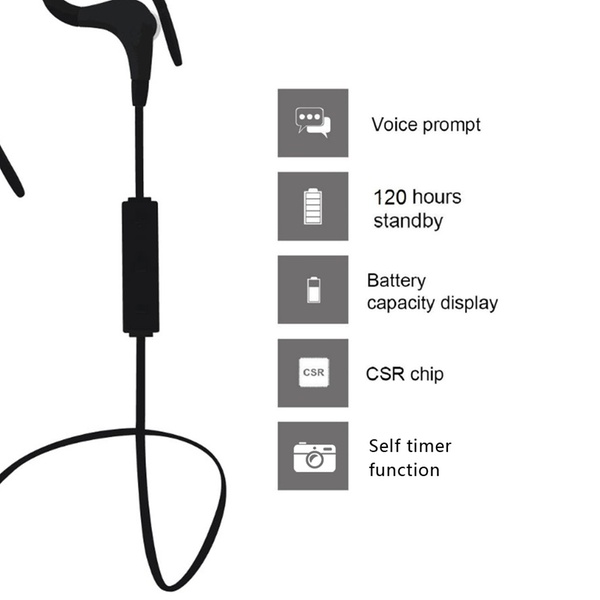 Ear Plug Style Bluetooth V4 1 Headset With Selfie Function Black Head Phone Groupon