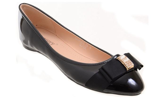 Jewel Black Patent-Trim Cadence Ballet Women's Flat