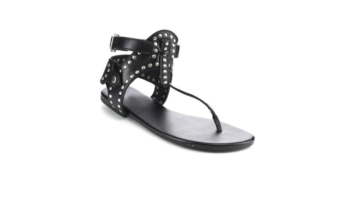 Beston DB21 Studded Accents Thong Ankle Buckle Strap Gladiator Sandals