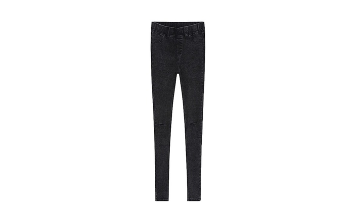 Women's High Rise Slim Fit Solid Jeans