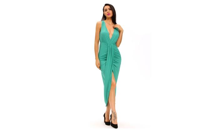 Women's Green Draped Slit Front Maxi Dress