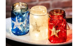 American Flag-Inspired Glass Mason Jar with String Lights Set (3-Pk.)