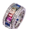 925 Sterling Silver Multi Color Crystal Zircon Rings for Women