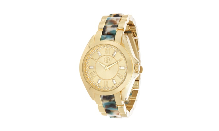 30ea23979a4 Steve Madden Alloy Case Roman Numeral Dial Stones Alloy Band Watch ...