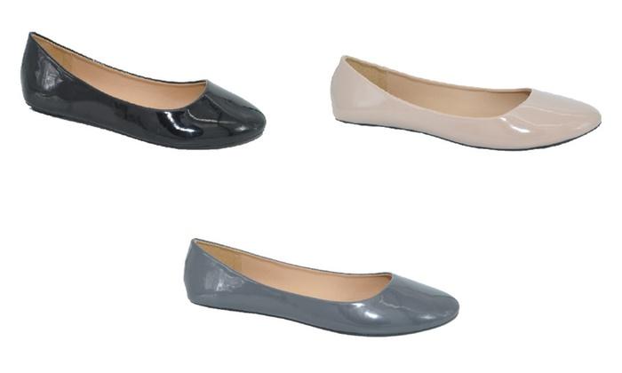 P26 Womens Patent Ballerina Ballet Flat Shoes